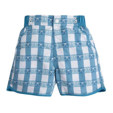 Eyes Down Here: Teal Swim Trunks
