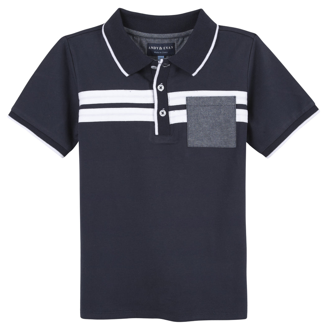 Navy W/ Stripes Polo - Andy & Evan