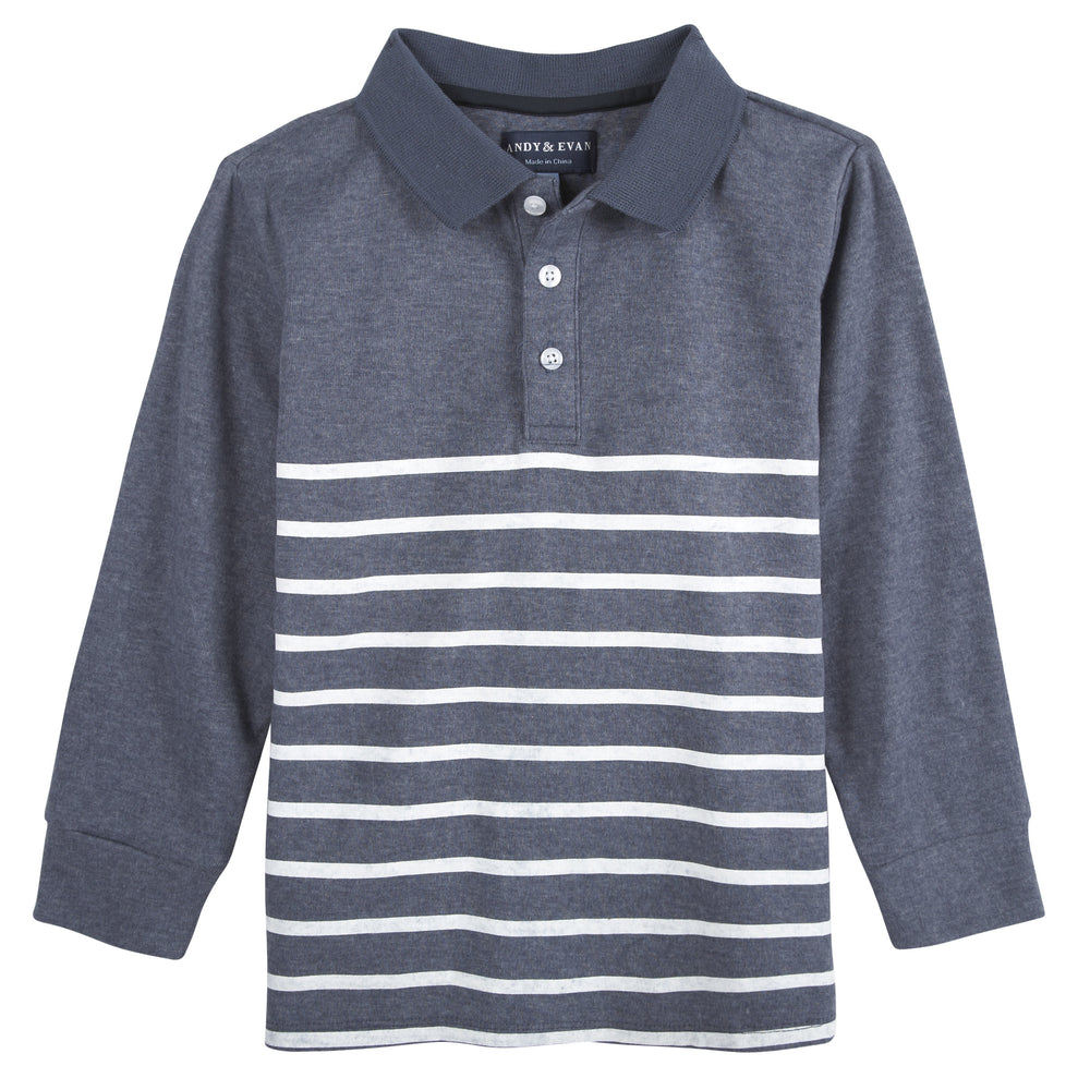 Dusty Blue and White Stripe LS Polo - Andy & Evan