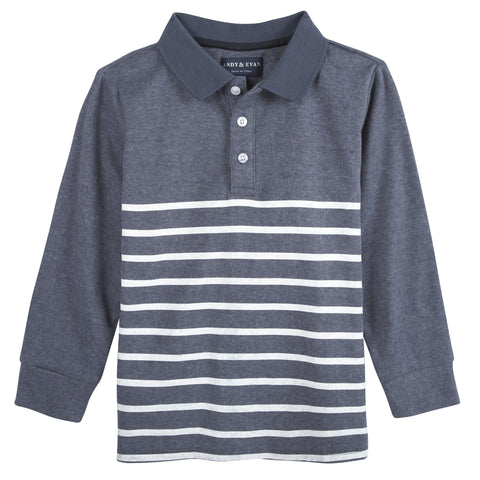 Dusty Blue and White Stripe LS Polo