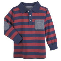 Maroon & Navy Stripe LS Polo