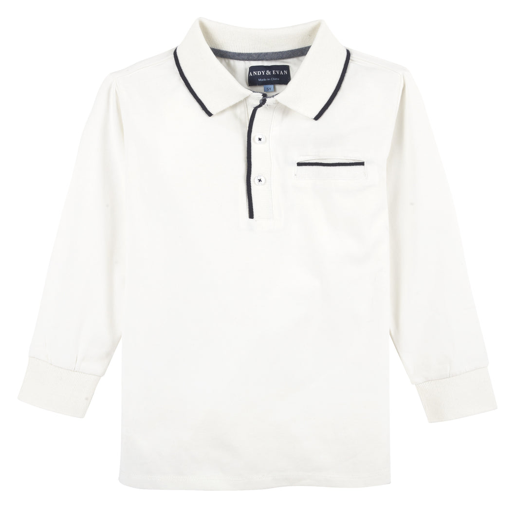 White with Tipping L/S Polo - Andy & Evan