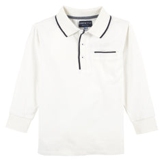 White with Tipping L/S Polo