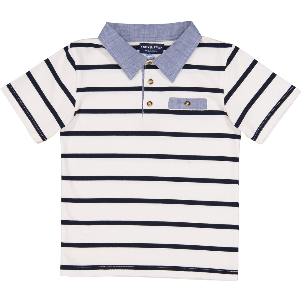 White Stripe Polo - Andy & Evan