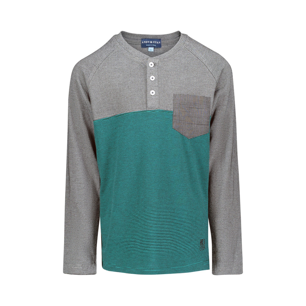 Black & Teal Striped Henley - Andy & Evan