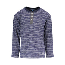 Load image into Gallery viewer, Navy Burnout Stripe Henley - Andy & Evan