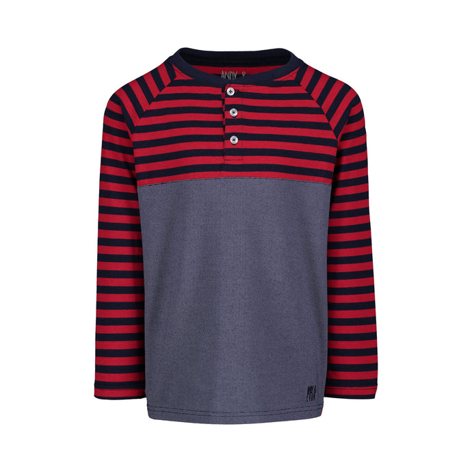 Navy & Red Striped Henley - Andy & Evan