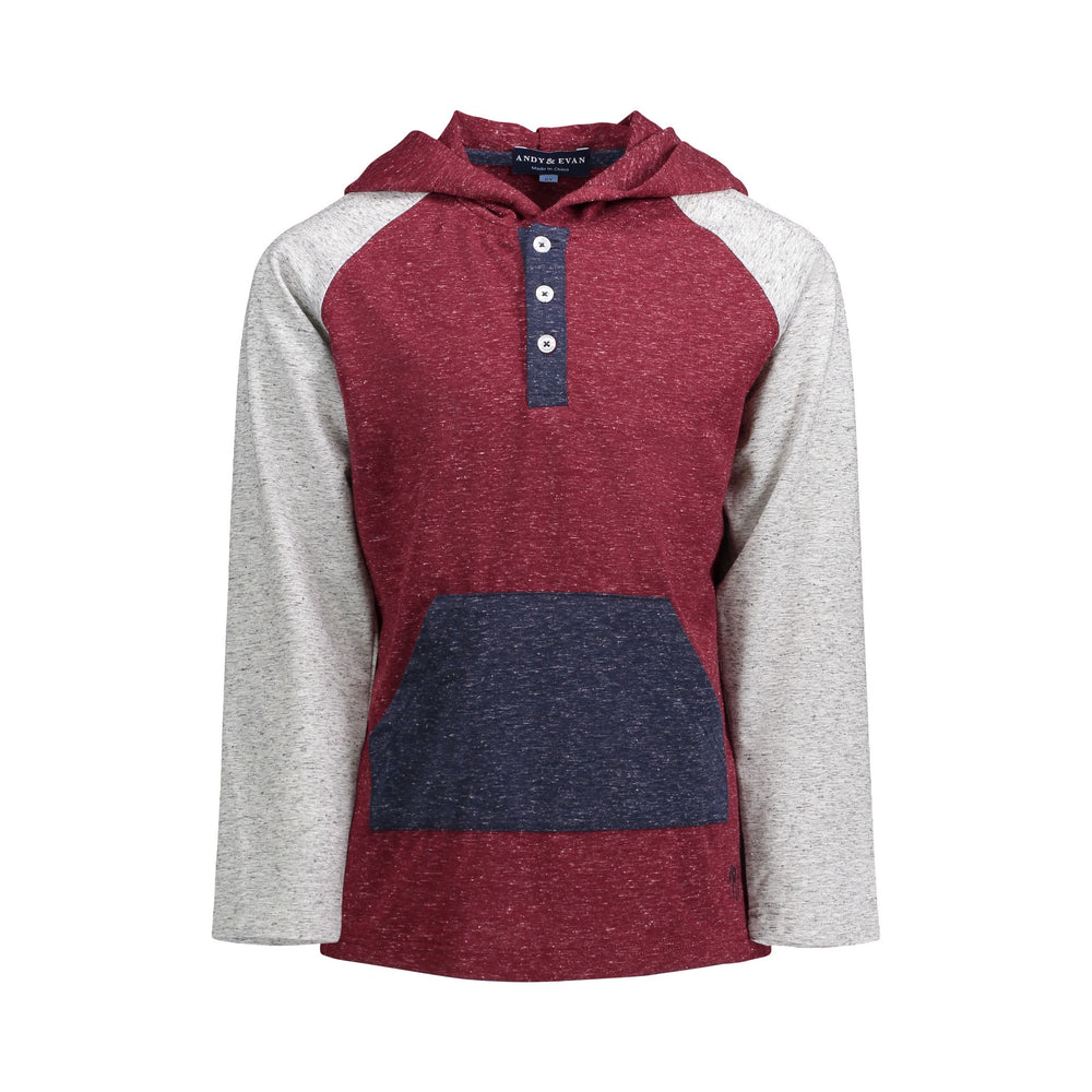 Maroon Hooded Henley - Andy & Evan
