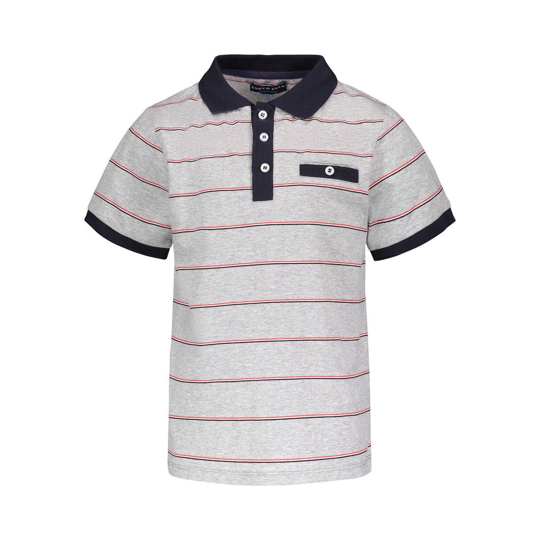 Grey Striped Polo - Andy & Evan