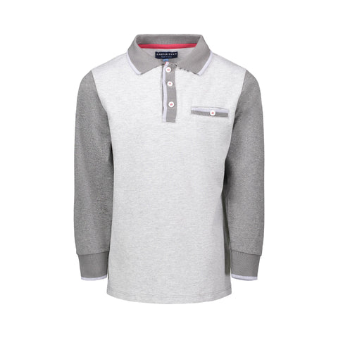 Grey Herringbone LS Polo