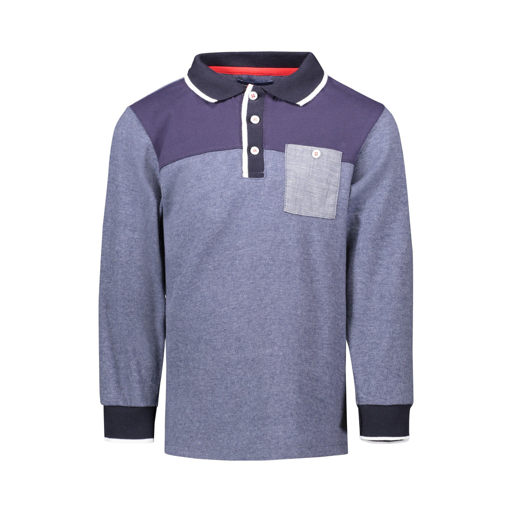 Navy Color-Blocked LS Polo - Andy & Evan