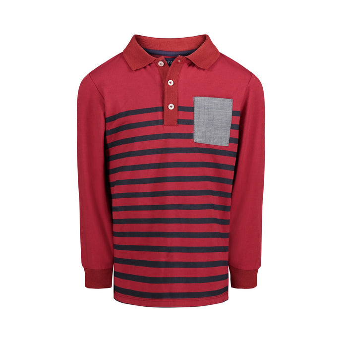 Maroon Stripe Polo - Andy & Evan