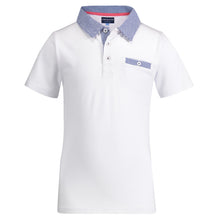 Load image into Gallery viewer, White with Gingham Collar Polo - Andy & Evan