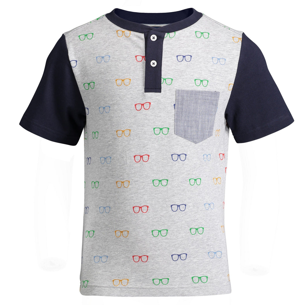 Multi- Colored Glasses Print Henley - Andy & Evan