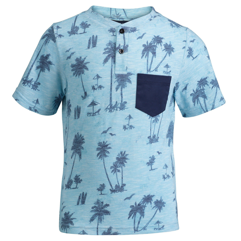 Aqua Palm Print Henley - Andy & Evan