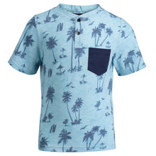 Load image into Gallery viewer, Aqua Palm Print Henley - Andy & Evan
