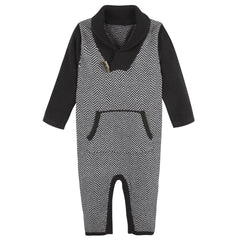 Black Herringbone Toggle Romper