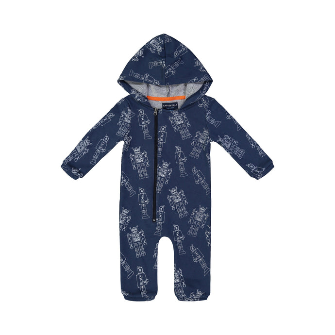 Navy Robot French Terry Romper - Andy & Evan