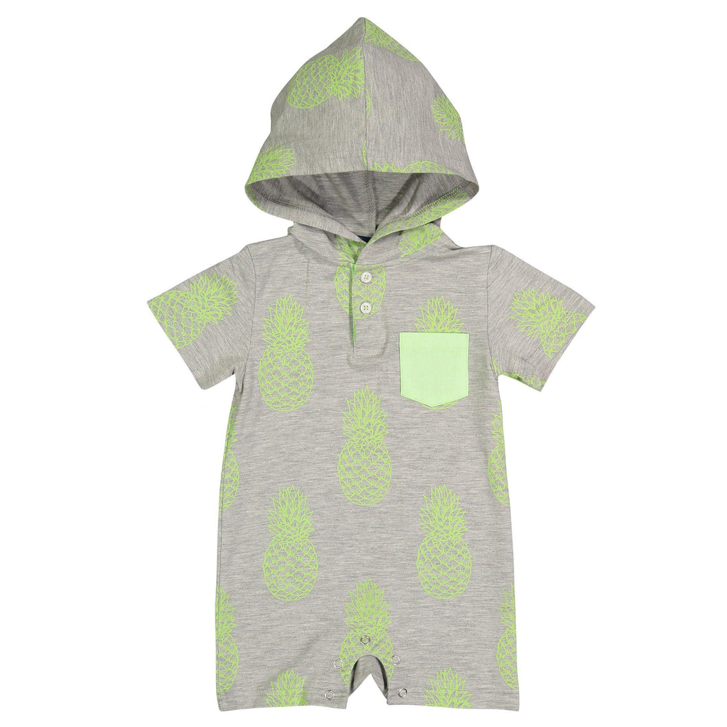 Grey Pineapple Printed Pique Romper - Andy & Evan