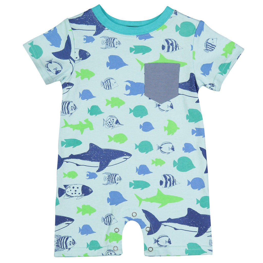 Fish Pocket Romper - Andy & Evan