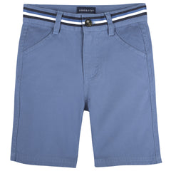 Blue Belted Twill Short