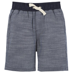 Blue Chambray Ribbed Shorts