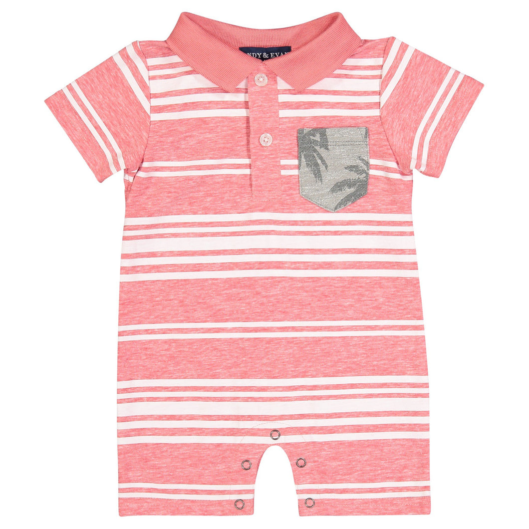 Red Striped Polo Romper - Andy & Evan