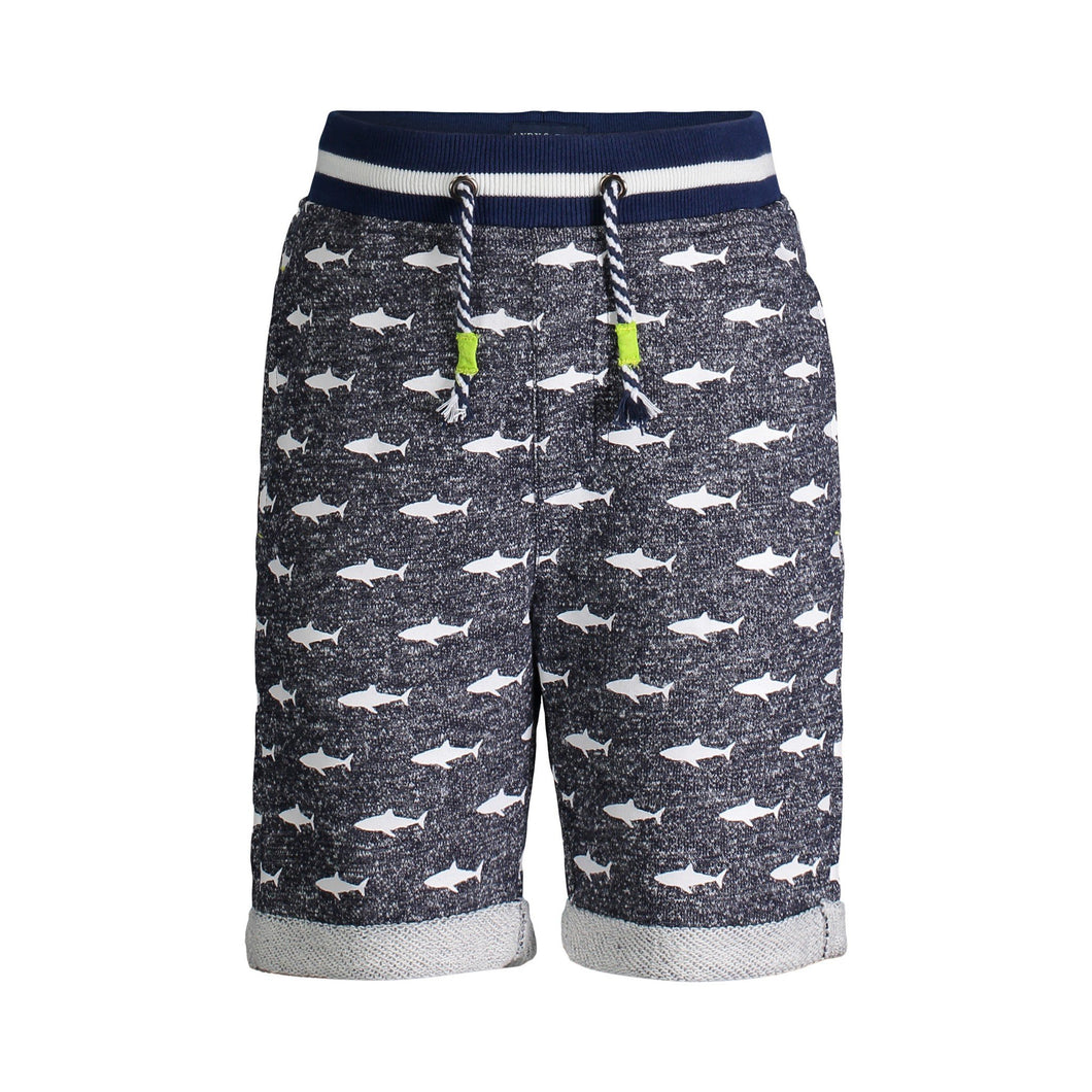 Navy Shark Print French Terry Shorts - Andy & Evan