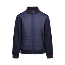 Load image into Gallery viewer, Navy Puffer Jacket with Knit Sleeves - Andy & Evan