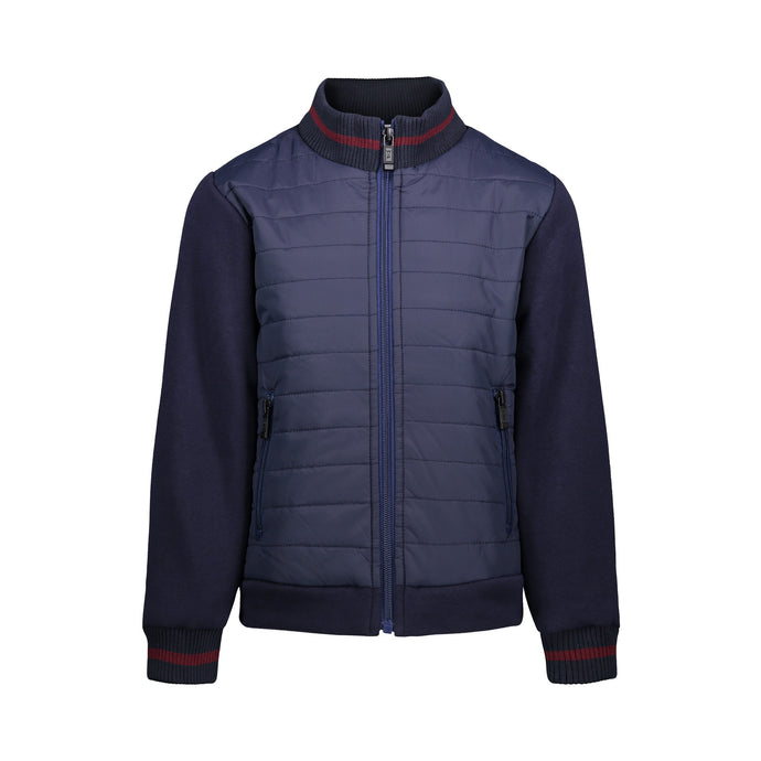 Navy Puffer Jacket with Knit Sleeves - Andy & Evan