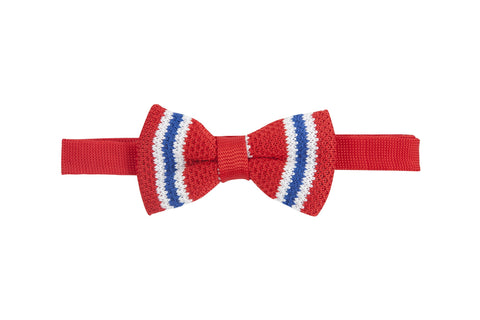 Preppy Le Pieux: Red Striped Knit Bow Tie