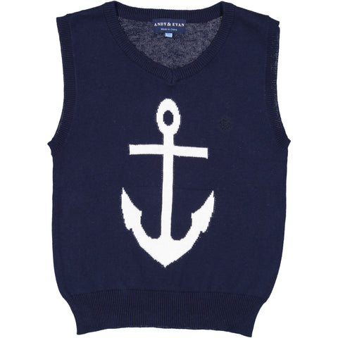 Andy And Evan Navy Anchor Sweater Vest Andy Evan