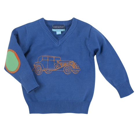 The Tin Lindsay: Blue Car V-Neck Sweater