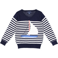 Load image into Gallery viewer, Navy Sailboat/Stripe Pullover - Andy & Evan