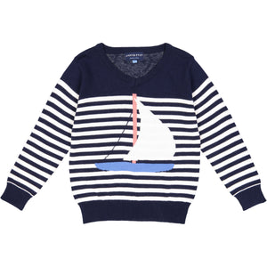 Navy Sailboat/Stripe Pullover - Andy & Evan