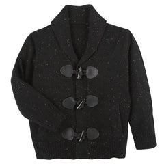 Black Multi Slub Toggle Cardigan