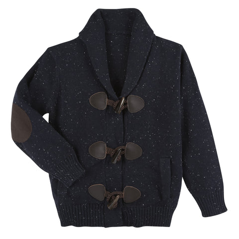 Navy White Slub Toggle Cardigan