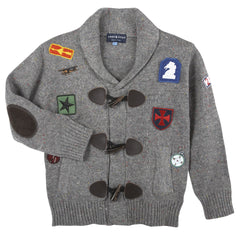 Grey Patches Toggle Cardigan