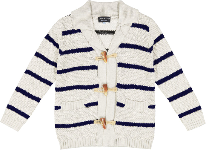 White Stripe Toggle Cardigan - Andy & Evan