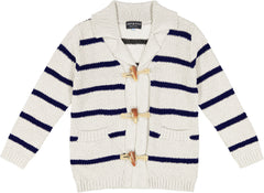 White Stripe Toggle Cardigan