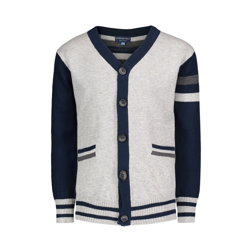 Grey & Navy Stripe Varsity Cardigan - Andy & Evan