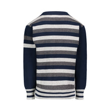 Load image into Gallery viewer, Grey & Navy Stripe Varsity Cardigan - Andy & Evan