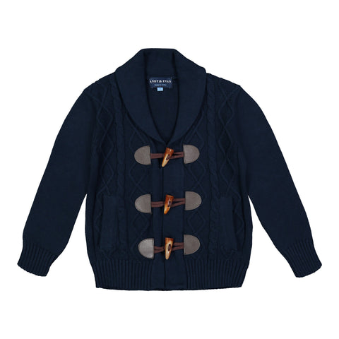 Navy Cable Knit Toggle Cardigan