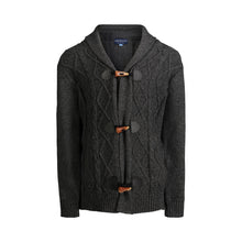 Load image into Gallery viewer, Black Cable Knit Toggle Cardigan - Andy & Evan