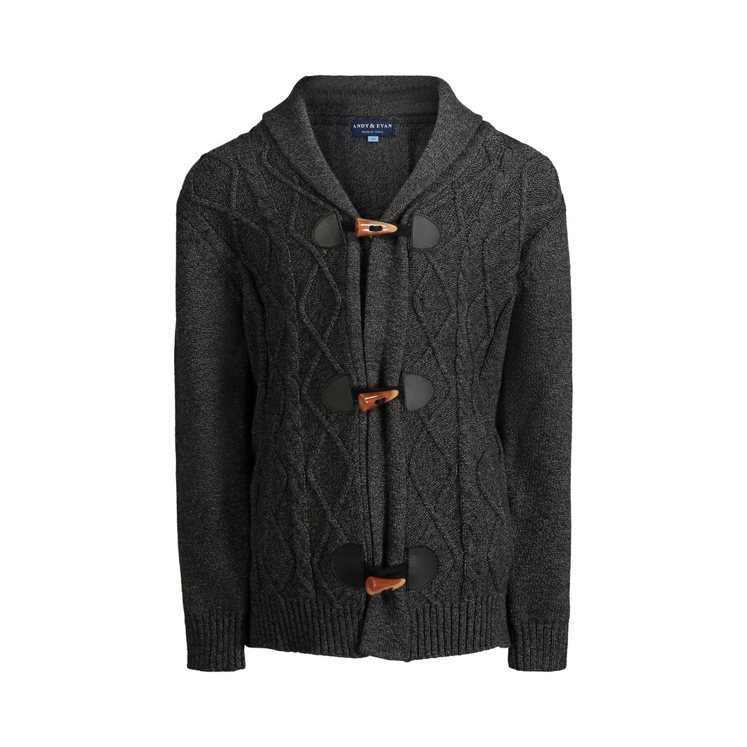 Black Cable Knit Toggle Cardigan - Andy & Evan