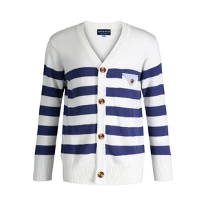 White Varsity Sweater - Andy & Evan