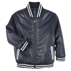 Navy Faux Leather Bomber