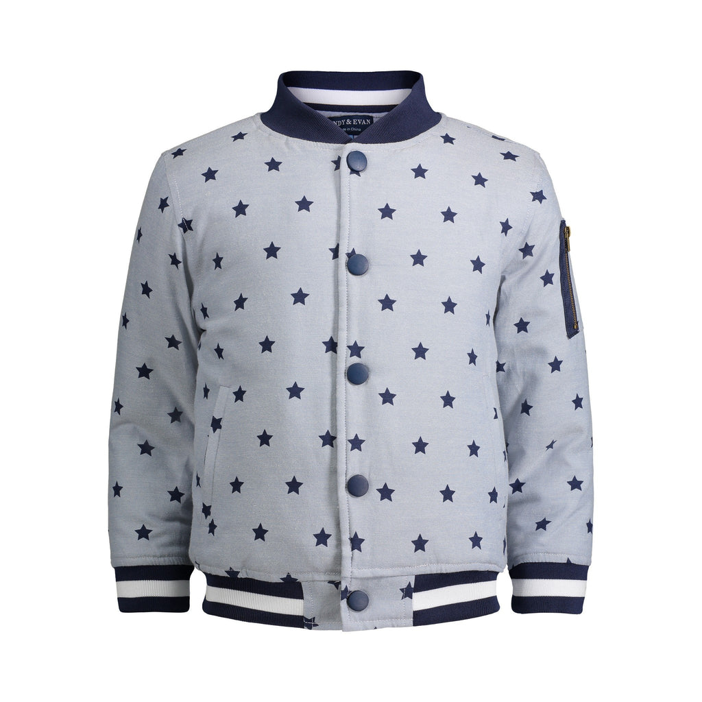 Chambray Star Bomber Jacket - Andy & Evan