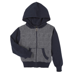 Navy Check Sweater Hoodie