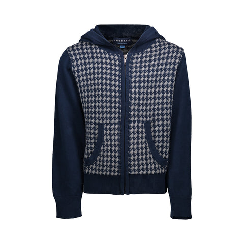Navy Houndstooth Hooded Sweater